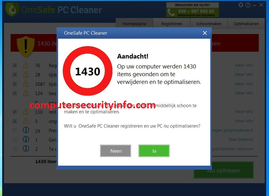 OneSafe PC Cleaner, Computersecurity, Computer Security, Computersecurityinfo.com,
